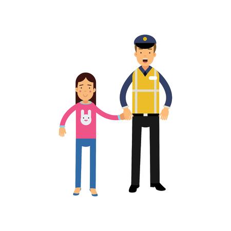 Cartoon weg politieagent in reflecterende vest en school meisje hand in hand.