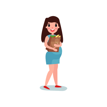 Pregnant woman character walking with paper bag with food and fruit in hand. Cheerful female expecting baby. Health care and healthy eating.