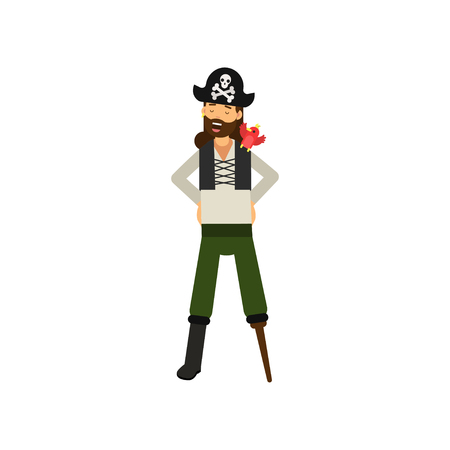 Flat cartoon character of cheerful bearded pirate captain with wooden leg and red parrot on shoulder