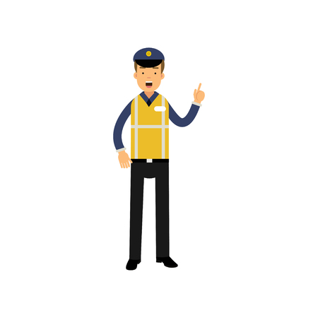 Cartoon traffic policeman standing and showing thumb up gesture, road police Ilustração