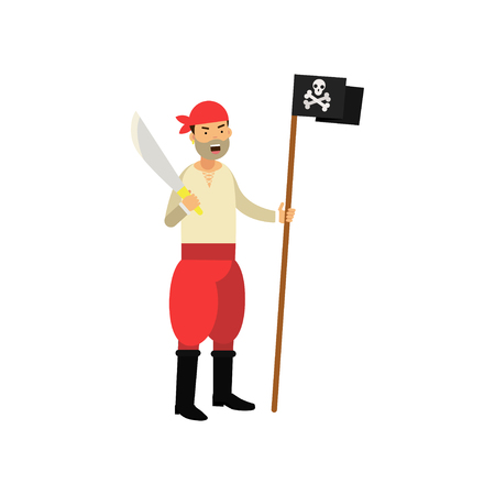 Cartoon aggressive pirate character holding Jolly Roger flag and sword in hands Illustration