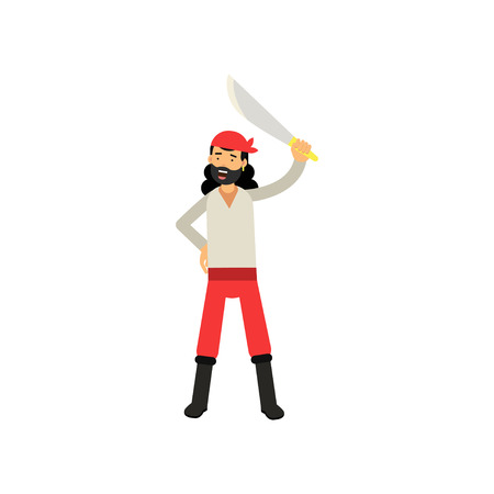 Cartoon character of brave bearded pirate raised his sword above his head, treasure hunter