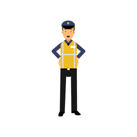 Cartoon officer of traffic police standing with arms akimbo in uniform with high visibility vest Ilustração
