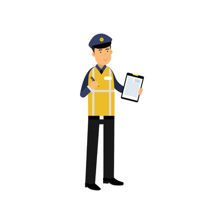 Cartoon verkeersagent permanent en klembord met formulier voor politie rapport te houden