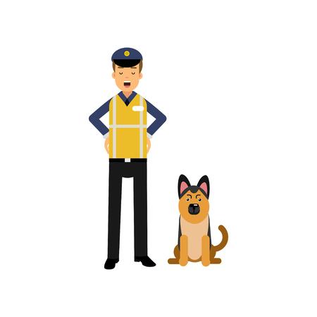 Beeldverhaal vlakke politieman in hoge zichtkleding die zich met de hond van de de dienst Duitse herder bevinden