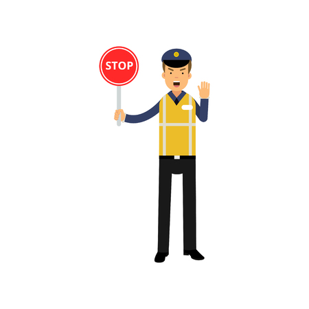 Cartoon traffic control policeman showing stop road sign and ordering to stop with other hand