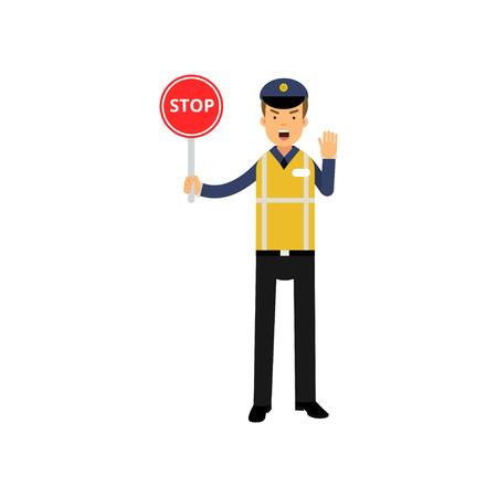 Cartoon verkeersleiding politieagent weergegeven: stop verkeersbord en bestellen om te stoppen met de andere hand Stock Illustratie