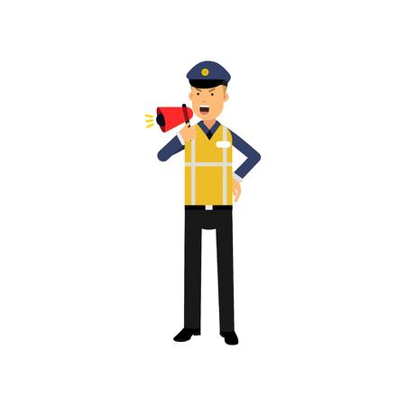 Cartoon verkeerspolitie agent permanent en schreeuwen in megafoon geïsoleerd op wit