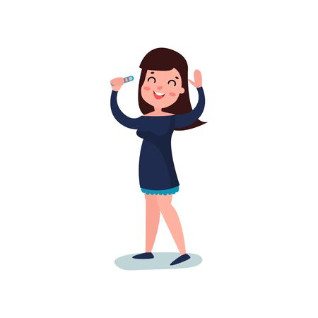 Young woman character finding out results of pregnancy test, standing with hands up. Planning a baby. Flat vector.