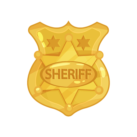 Golden cop  badge with stars and engraved word sheriff. Cartoon vector illustration in flat style.