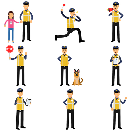Cartoon set of road policeman in different situations standing with service dog, running, showing stop sign Stock Illustratie