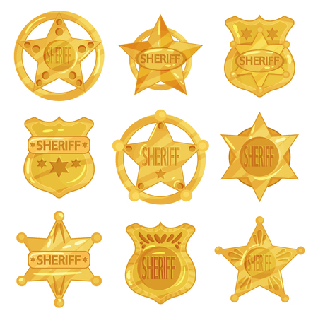 Collection of different sheriff s golden badges in modern flat design. Police emblems in star and circle shapes. Illustration