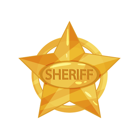 Flat vector illustration of sheriff s vintage golden star with circle and inscription