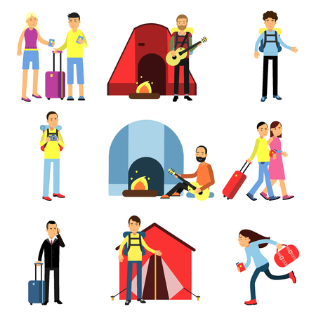Cartoon men and women tourists characters set. Camping recreation with guitar, hiking, people with luggage, family vacation