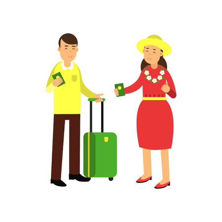 Cheerful couple tourists standing at airport with luggage and passports in hands. Summer beach vacation concept