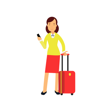 Businesswoman in red skirt and yellow blouse standing at airport with luggage and smartphone in hands. Business trip concept Illustration