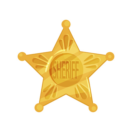 Sheriff s icon shape of five-pointed star in cartoon flat design. Policeman emblem.