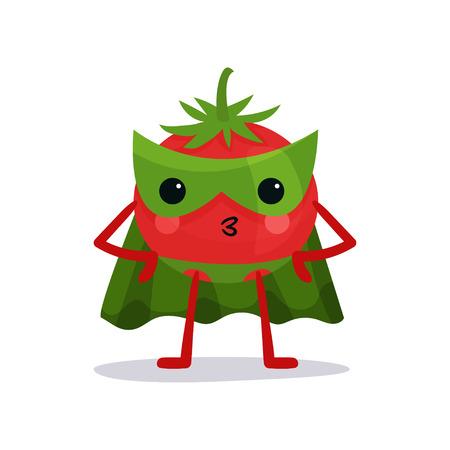 Personaje de dibujos animados de tomate rojo en máscara verde, capa y pantalones de pie con los brazos en jarras