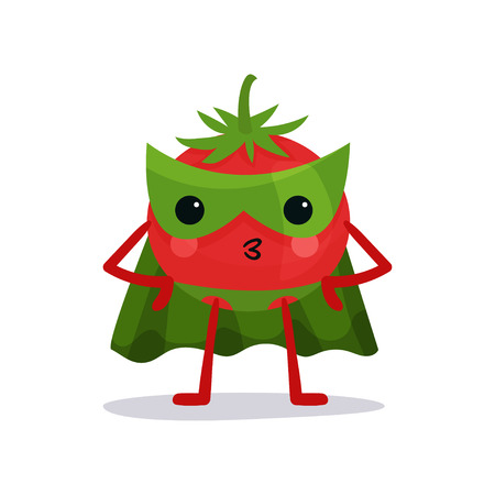Cartoon character of red tomato in green mask, cape and pants standing with arms akimbo