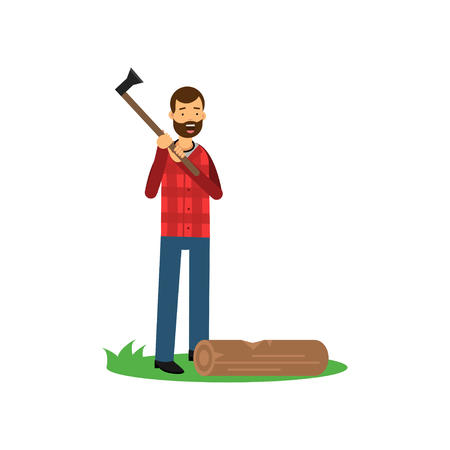 Cartoon cheerful bearded lumberjack man standing with axe in hands, log lying on green grass Illustration