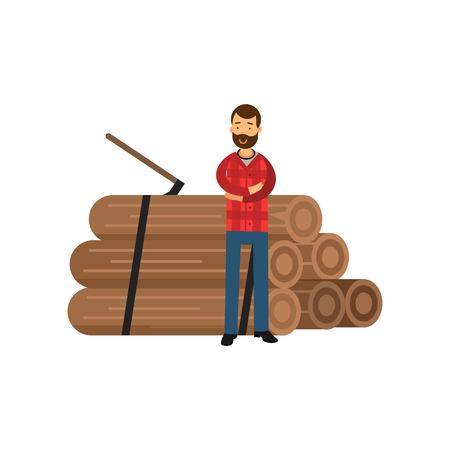 Cartoon bearded woodcutter in hipster plaid shirt standing near pile of logs with arms crossed. Flat vector illustration