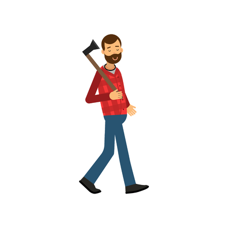 woodpecker: Flat vector illustration of bearded woodcutter character walking with axe in his hand