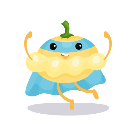Personaje de pattypan squash de superhéroe de dibujos animados en capa azul, máscara y pantalones listos para luchar