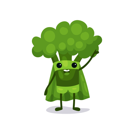 Flat cartoon broccoli character in superhero suit, standing and saying hello with hand up