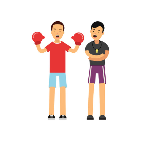 Cartoon male boxer in red boxing gloves working with professional trainer