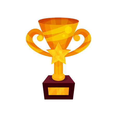Gold winner cup with star on a pedestal, golden first place prize cartoon vector Illustration