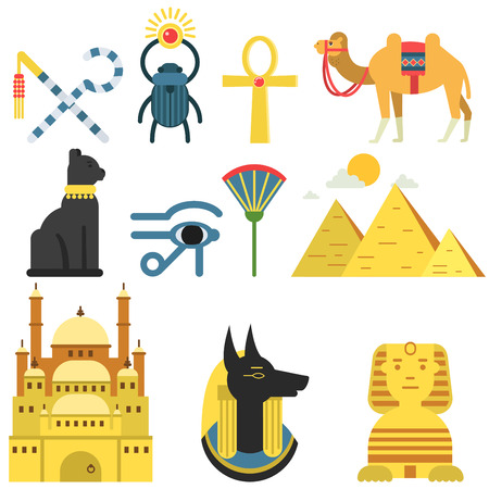 Egypt collection set with traditional symbols of country, signs of ancient Egypt, traditional Egyptian culture vector Illustration Illustration