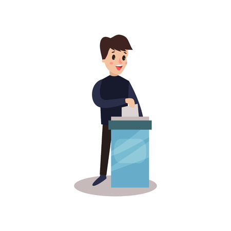 Man character putting a ballot into a voting box, voting process vector Illustration