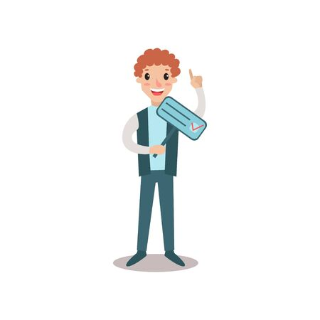 Man character holding election placard and megaphone, political agitation campaign vector Illustration