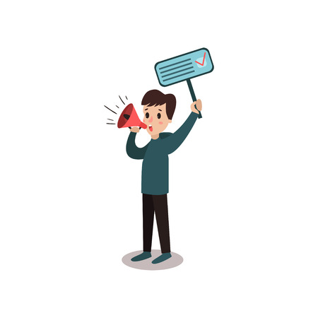 activist: Man character holding placard election voting and megaphone, political agitation campaign vector Illustration Illustration