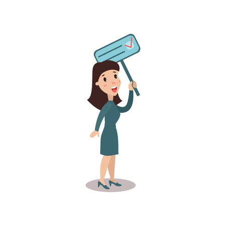 activist: Young woman character holding placard election voting, political agitation campaign vector Illustration