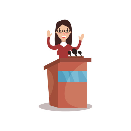 Female politician character standing behind rostrum with raising hands and giving a speech, public speaker, political debates vector Illustration