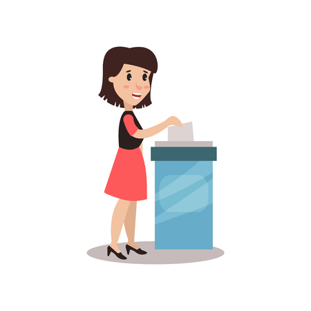 Woman character putting a ballot into a voting box, voting process vector Illustration Illustration