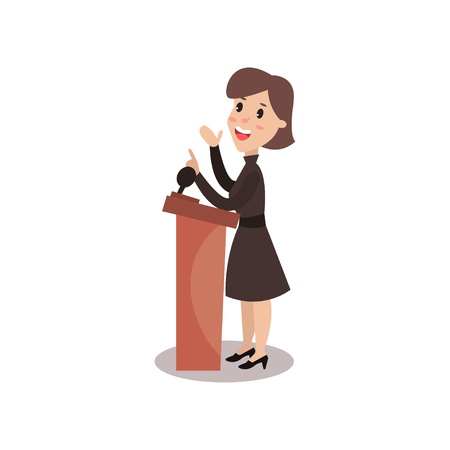 Female politician character standing behind rostrum and giving a speech, public speaker, political debates vector Illustration