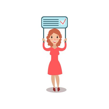 Young woman holding placard election voting, political agitation campaign vector Illustration