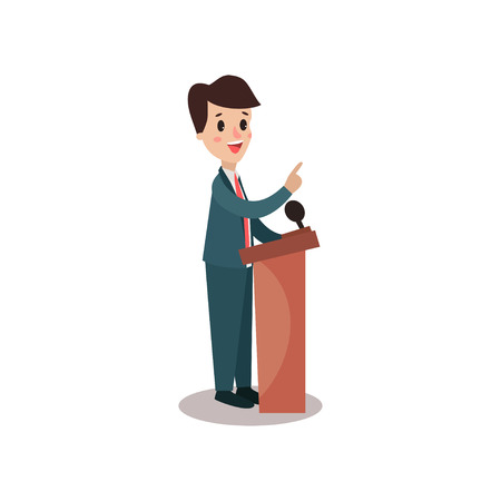 Politician man character standing behind rostrum and giving a speech, public speaker, political debates, side view vector Illustration Stock Photo