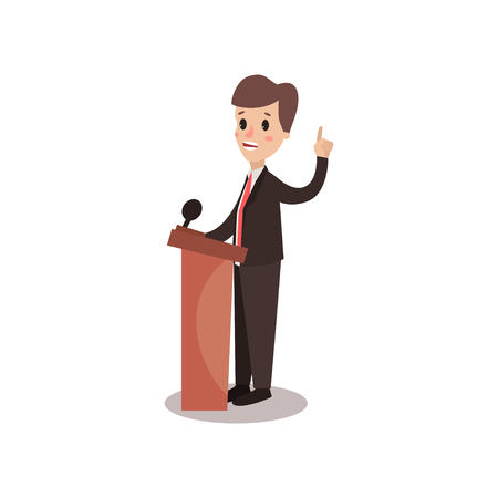 Politician man character standing behind rostrum and giving a speech, public speaker, political debates vector Illustration