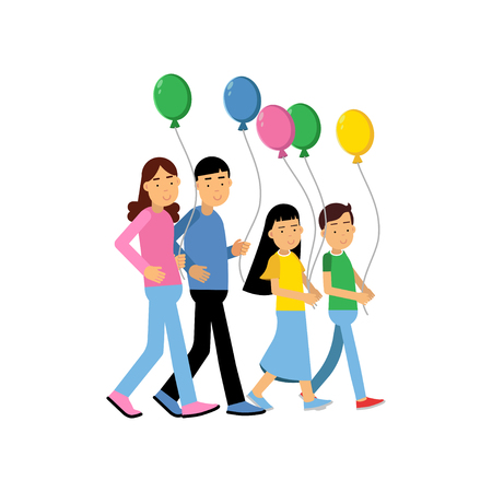 Parents and their two kids walking with colorful balloons, happy family concept vector Illustration