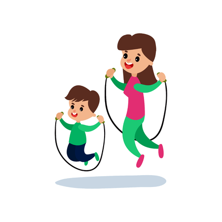 Mom and son jumping with skipping rope together, sport family and physical activity with children vector Illustration