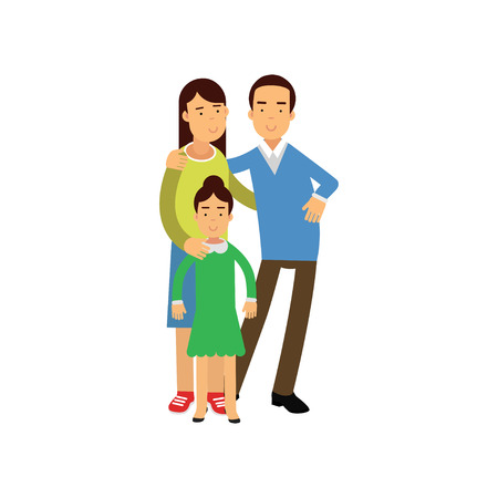 Young parents standing with their daughter, happy family concept vector Illustration isolated on a white background Illustration