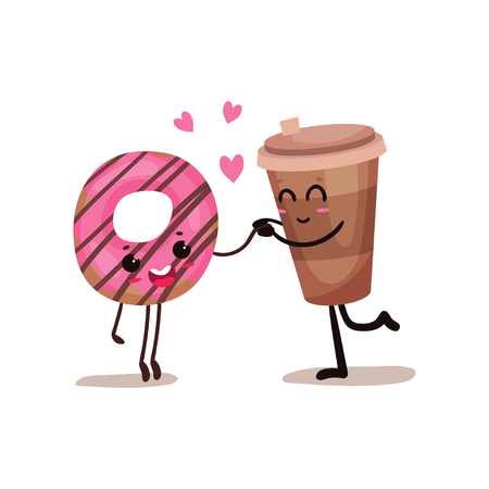 Cup of coffee and glazed donut characters are best friends, funny fast food menu vector Illustration isolated on a white background