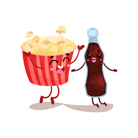 Cute movie popcorn and soda characters are best friends, funny fast food menu vector Illustration