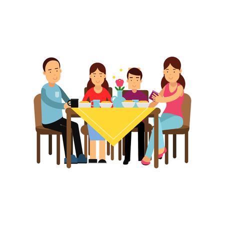 Famiglia felice che ha pasto insieme, marito e moglie con i bambini che si siedono all'illustrazione di vettore della tavola Archivio Fotografico - 90367336