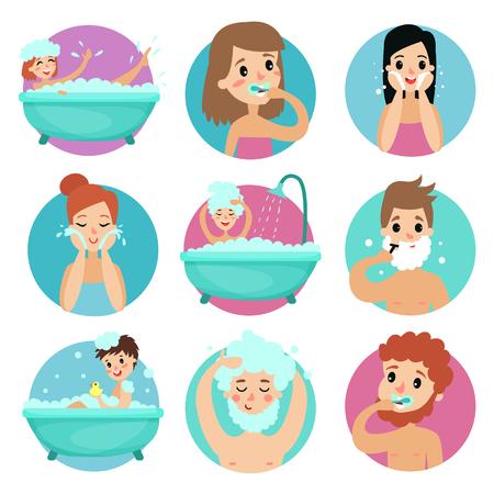 Caracteres masculinos y femeninos que realizan procedimientos de baño, vector de higiene personal matutino Foto de archivo - 90573916