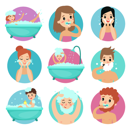 Male and female characters doing bathroom procedures, morning personal hygiene vector Illustration Vettoriali