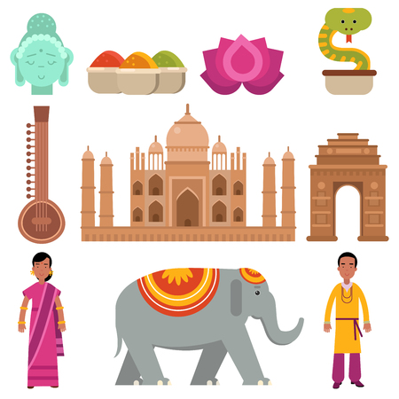 India collection set with traditional symbols of country, travel to India, signs of traditional Indian culture vector Illustration Foto de archivo